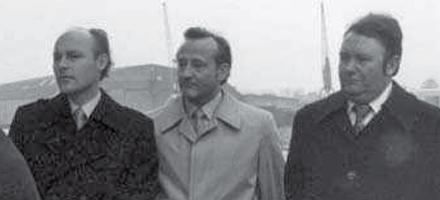 Beim Stapellauf der RHEINTAL. v.l.: Laurenz Held, Heinrich Schepers, Bernhard Lohmann